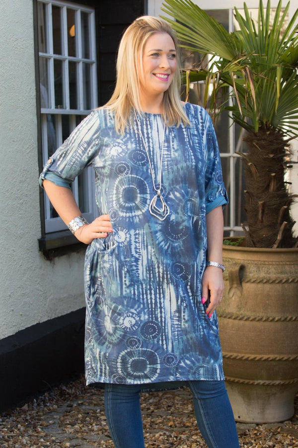 Electric Blue Tie Dye Tunic Curve