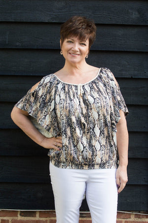 Beige Cold-Shoulder Snake-Print Top