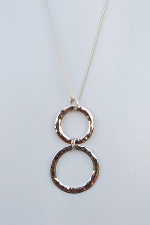 Long Silver and Rose Gold Double Circle Necklace