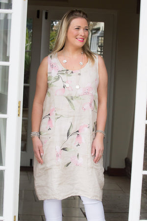 Light Pink Pocket Flower Linen Dress