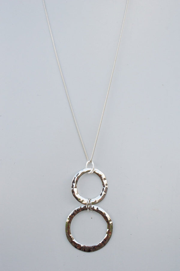 Long Silver Double Circle Necklace