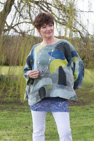 Sage, Lime & Blue Abstract Linen Top