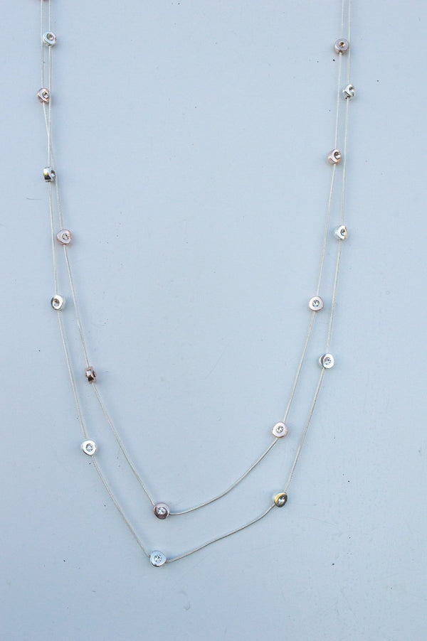 Long Silver and Rose Gold Gem Necklace