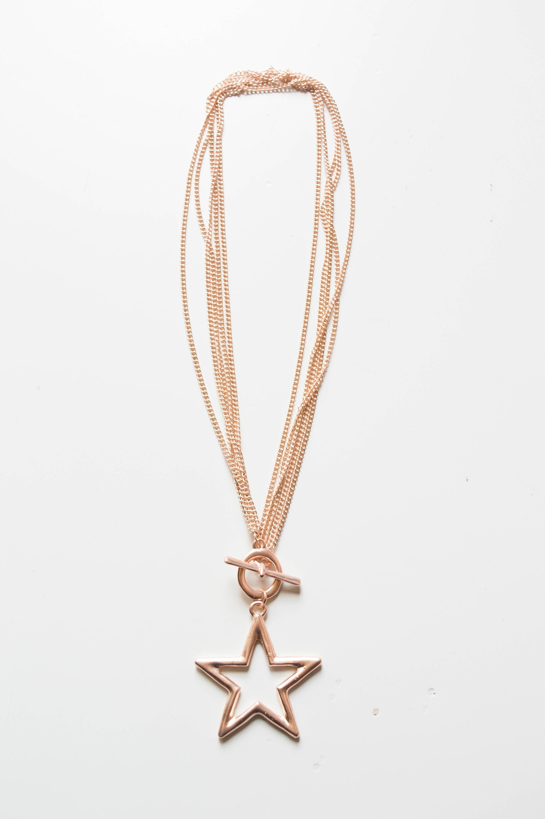 Short rose gold star pendant necklace mozeypictures Gallery