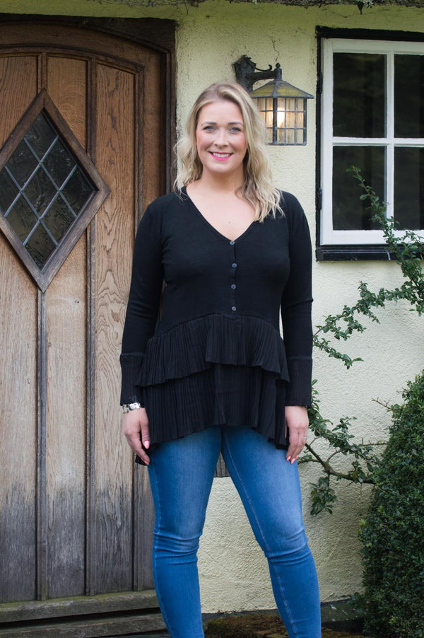 Black Button-Up Layered Pleated Jumper