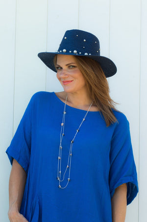 Navy Straw Pearl Sun Hat