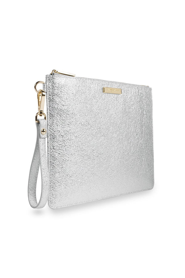 Katie Loxton Metallic Silver Krush Klutch