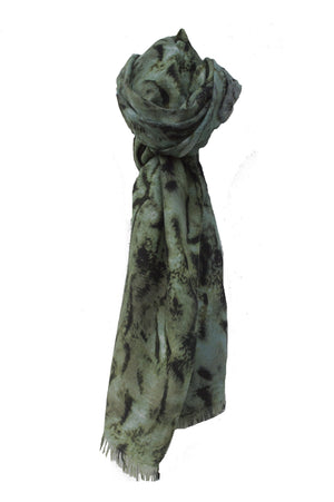 Forrest Green and Black Tiger Print Scarf