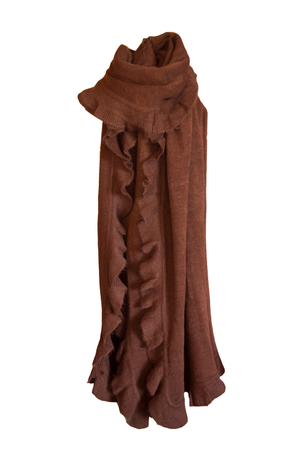 Chocolate Frill Wool Scarf - Mandy's Heaven