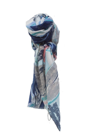 Blue and Coral Glitter Flower Print Scarf