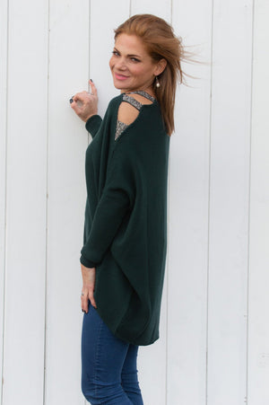 Forest Green Embellished Cold Shoulder Jumper
