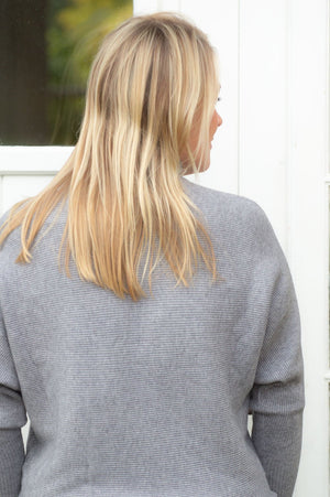 Grey Embellished High Neck Jumper