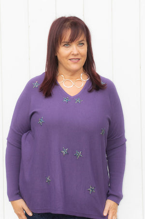 Purple Gem Star Lightweight Jumper