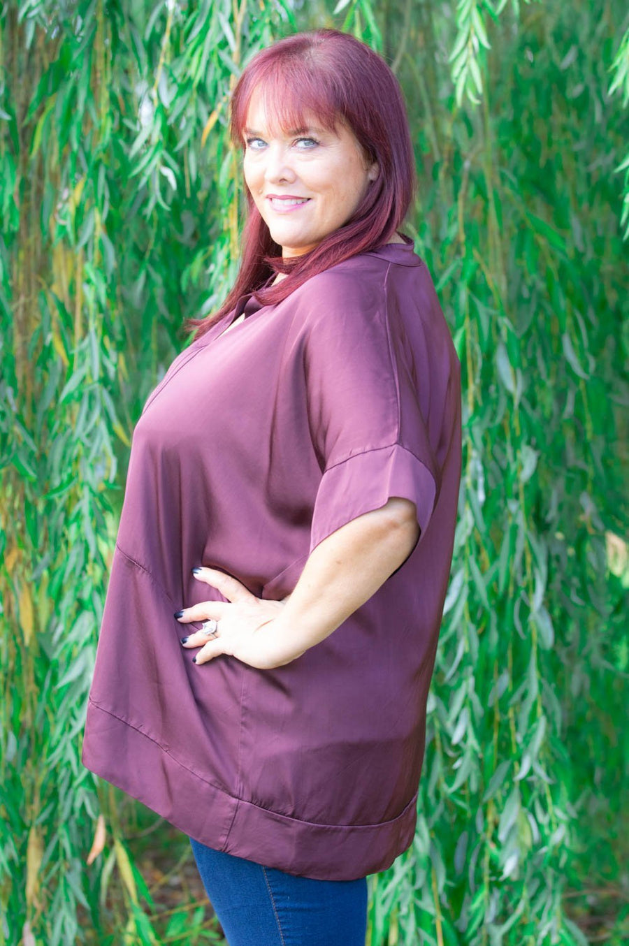 Maroon Satin Collarless Shirt