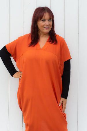 Orange V-Neck Midi Dress