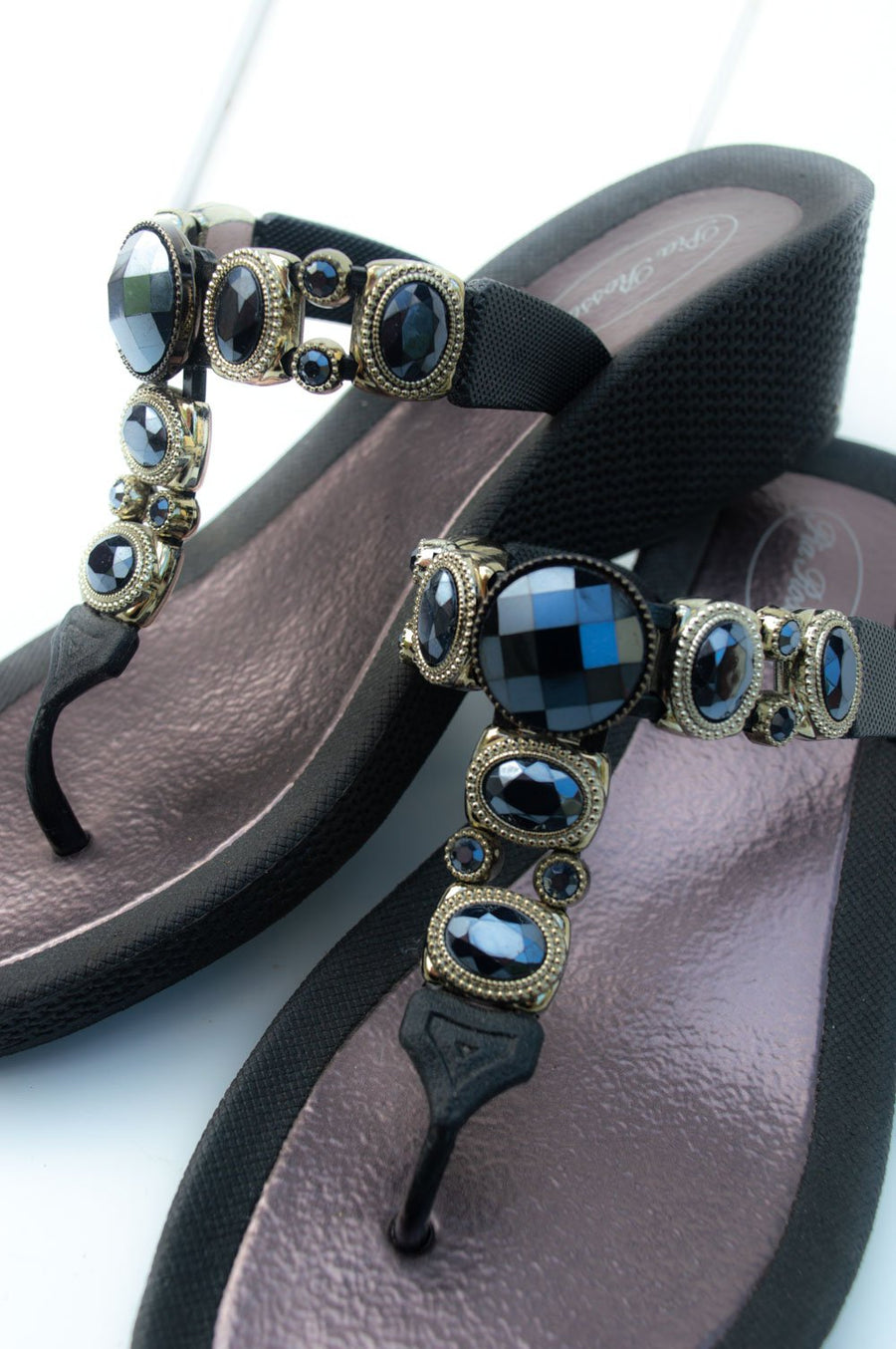 Navy & Gold Jewelled Sandal