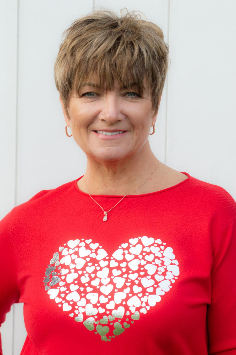 Red and Silver Lightweight Heart Jumper