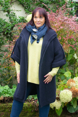 VIP Navy Wool Chunky Knit Cardigan