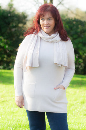 Beige Pocket Jumper & Scarf Set