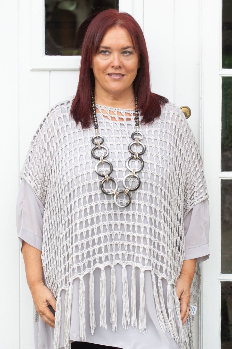 Grey Netted Tassel Poncho