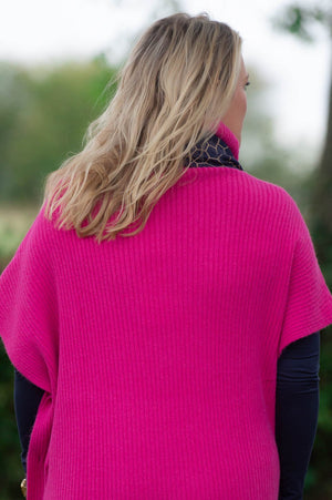 Fuchsia Roll-Neck Button Poncho
