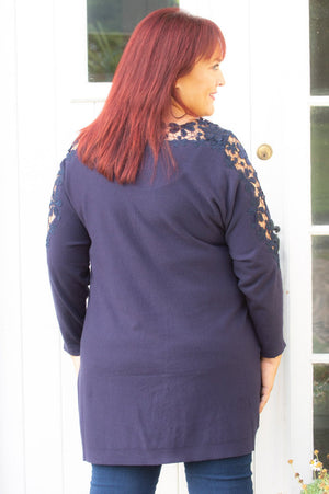 Navy Crochet Detail Jumper Curve