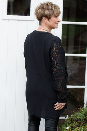 Black Lace Sleeved Layered Shirt