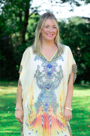 Yellow Maxi Tribal Print Kaftan