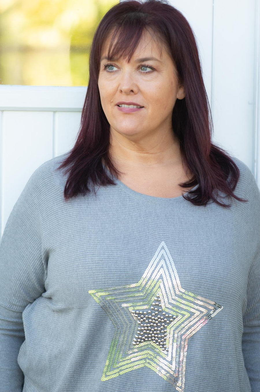 Grey Star Gem Embellished Jumper