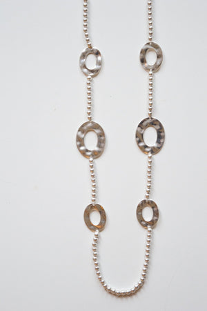 Long Silver Charm and Bead Necklace