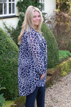 Navy Abstract Animal Print Blouse