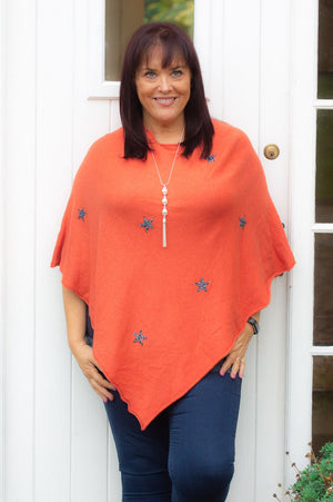 Burnt Orange Gem Star Poncho