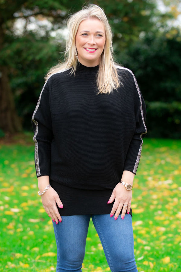 Black Embellished High Neck Jumper