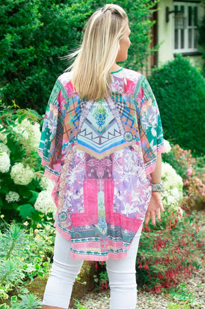 Pink Multi-Coloured Abstract Kaftan