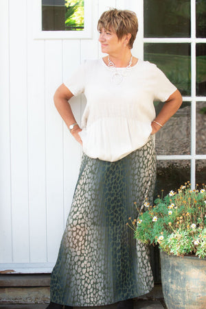 Khaki Belted Animal Print Maxi Skirt