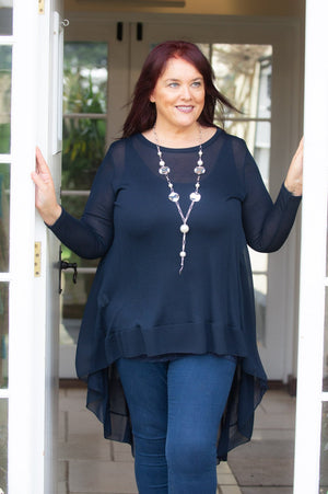 Navy Waterfall Lightweight Top
