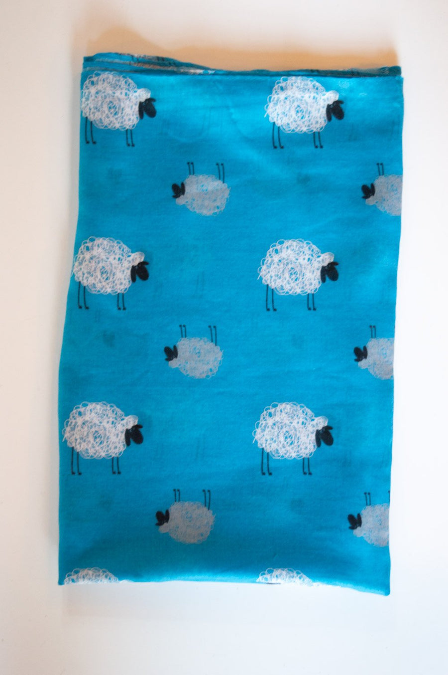 Blue Sheep Print Scarf