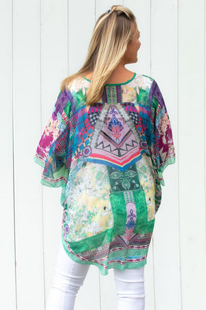 Green Multi-Coloured Abstract Kaftan