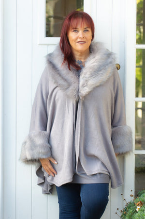 VIP Silver Faux Fur Sleeved Wrap