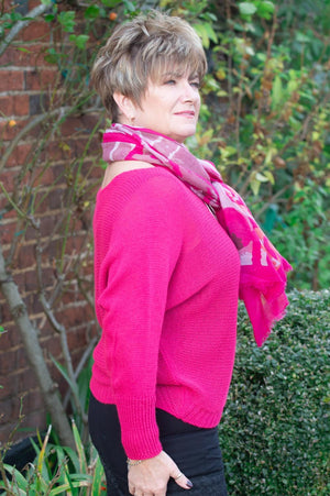 Fuchsia Wool Knitted Batwing Jumper