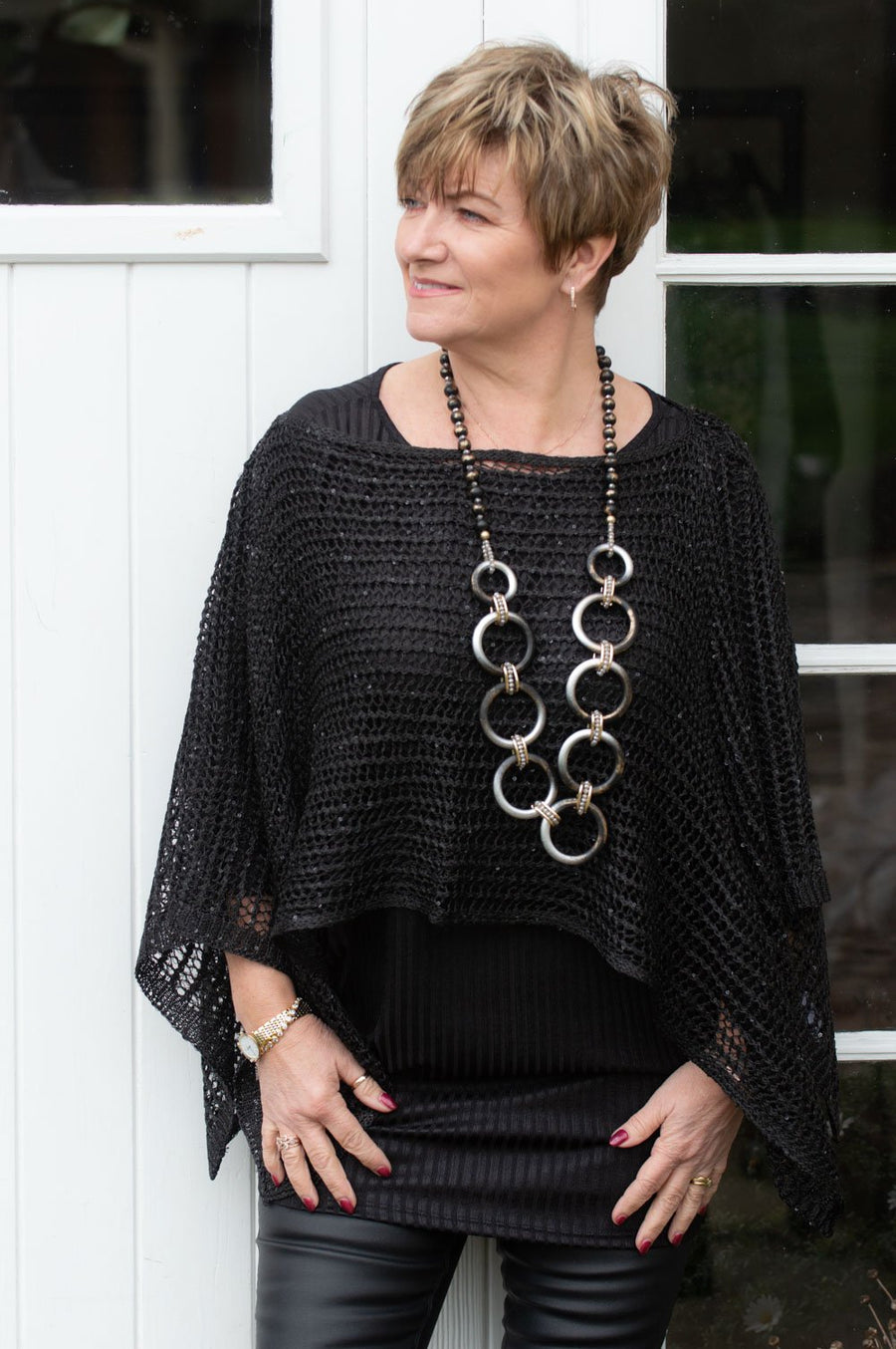 Black Netted Sequin Detail Poncho