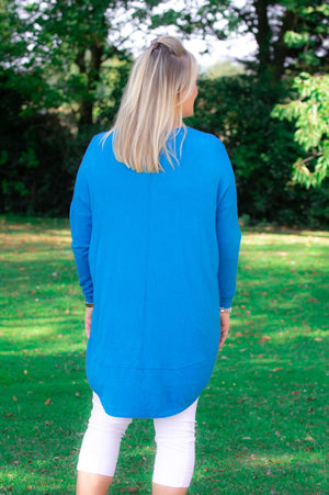 Turquoise Wrap-Over Waterfall Jumper