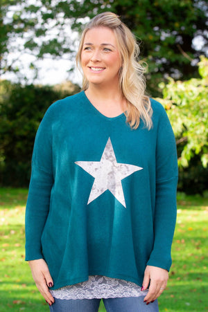 Teal Star Lightweight Jumper