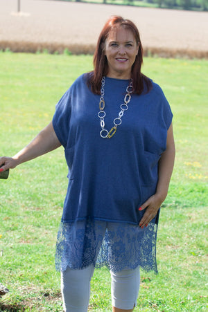 Petrol Blue Sleeveless Knit Poncho