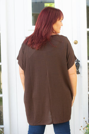 Brown Button Detail Tee