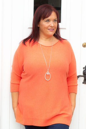 Coral Knitted Batwing Jumper