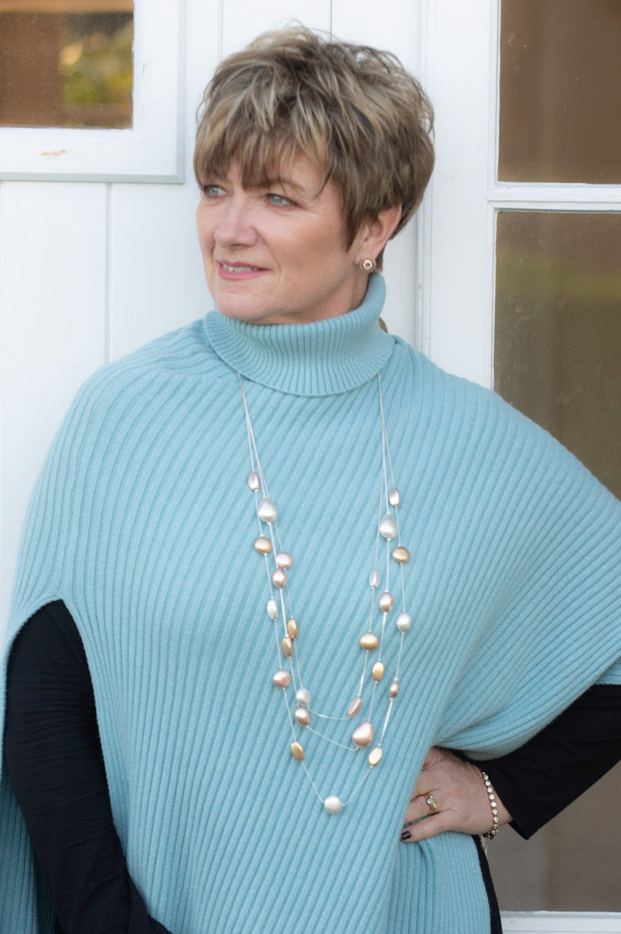 Powder Blue Side Split Poncho
