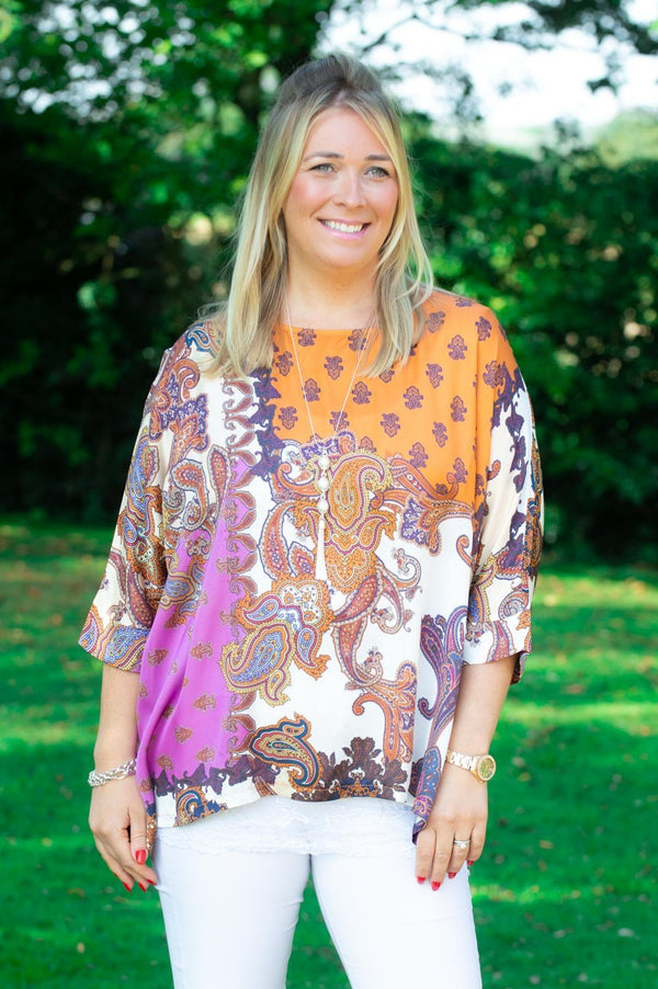 VIP Orange & Magenta Paisley Blouse
