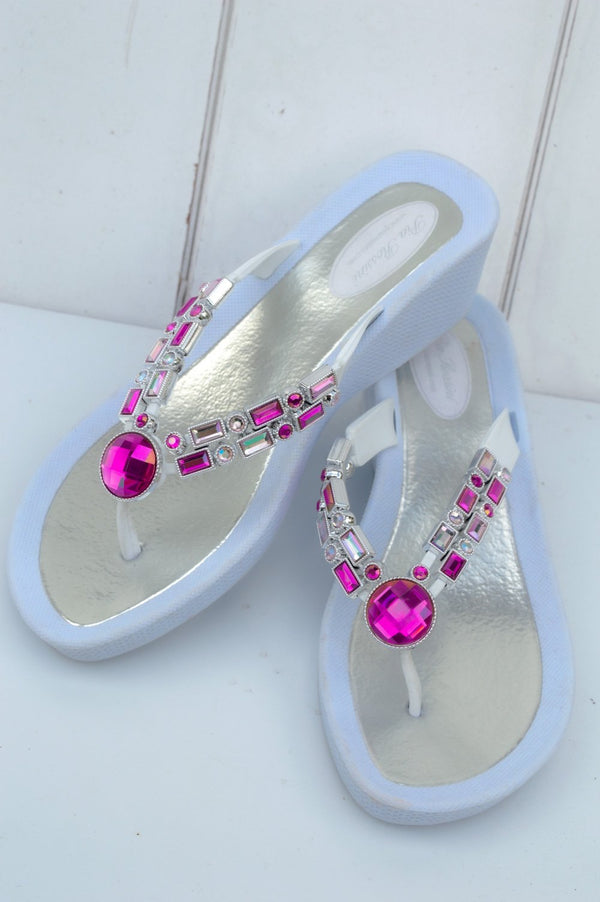 Pink and White Jewelled Sandal