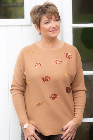 Tan & Red Sequin Lips Jumper
